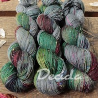 """Big teal"" - merino a Donegal neps"